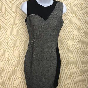 Elie Tahari Gray/Black two tone tweed sheath dress